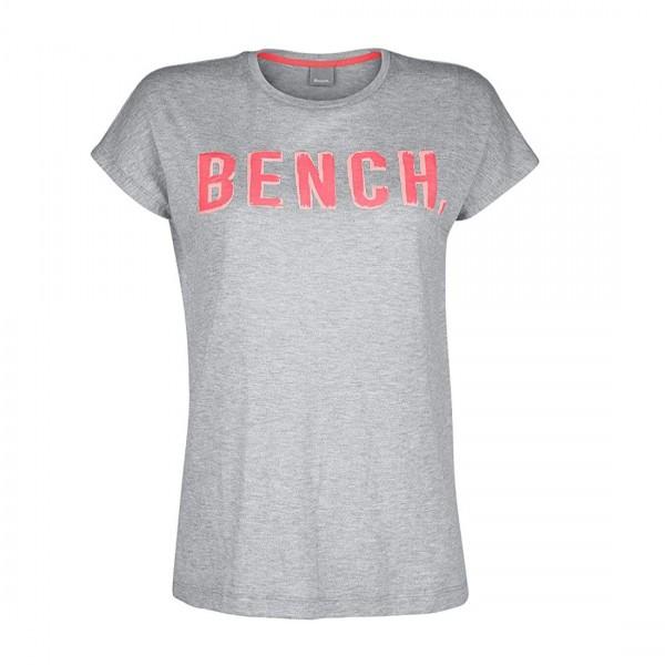 Bench Damen T-Shirt Shirt New Logo W Top Grau