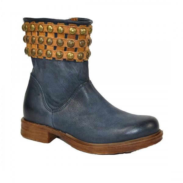 A.S.98 Airstep Damen Leder Stiefelette Stiefel Lederstiefel Boots Schuh Blau Natur