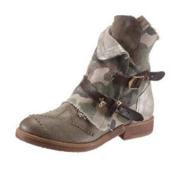 A.S.98 Airstep Damen Leder Stiefel Biker Schuhe Stiefeletten camouflage khaki