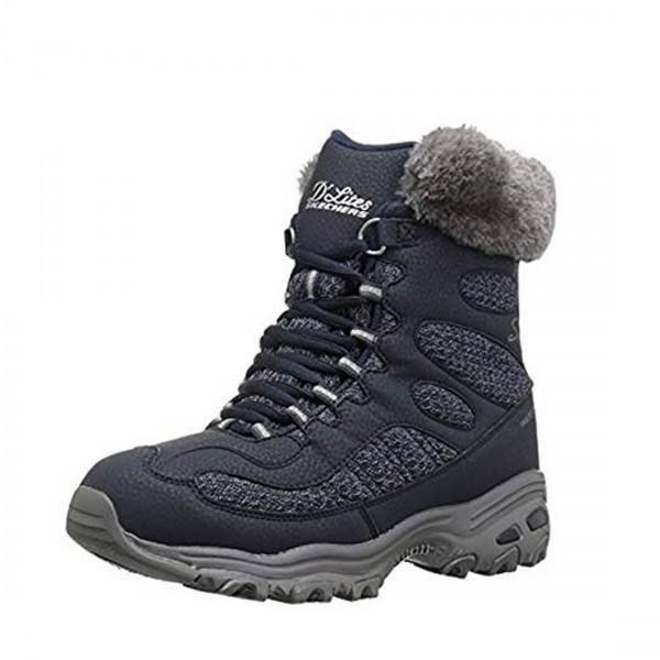 Skechers Damen Stiefel Boots Schuhe Schnürstiefel Winter Stiefel Navy