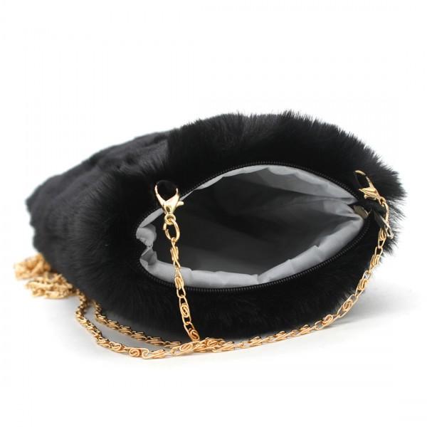 MiHella Damen Tasche Clutch Bag Umhängetasche Plüschtasche Schwarz
