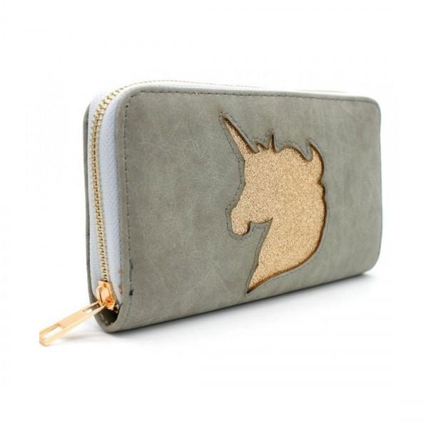 Damen Geldbörse Portmonee Brieftasche Einhorn Unicorn Grau