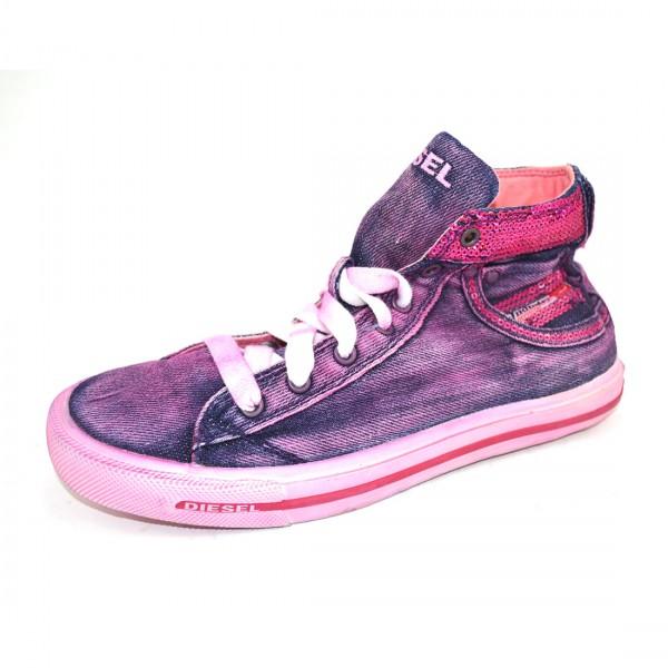Diesel Kinder Mädchen Sneaker Schuhe Schnürschuhe Rosa Pink Used Look