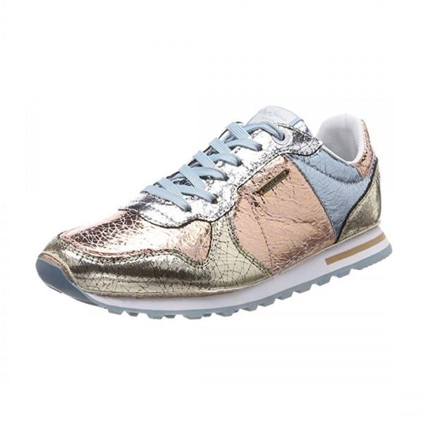 Pepe Jeans Damen Verona W Cracked Sneaker Silber Rose Metalic