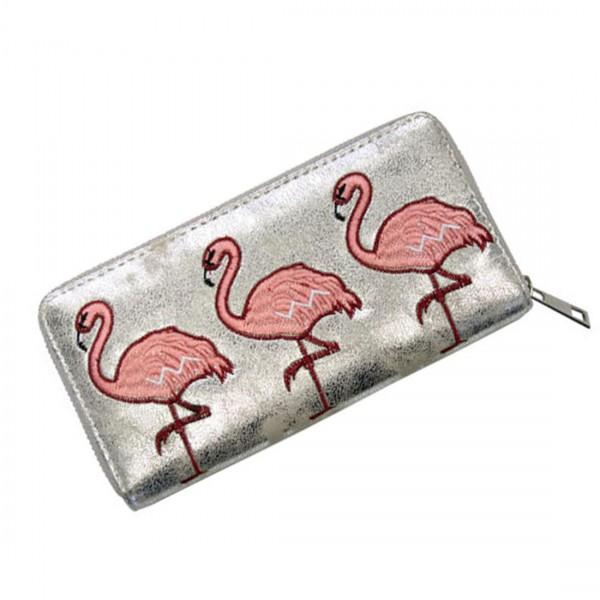 Damen Geldbörse Portmonee Brieftasche Flamingos Silber