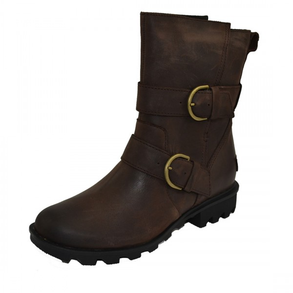 Sorel Phoenix Moto Damen Leder Boots Stiefel Stiefeletten Schuhe Braun
