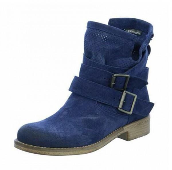 Tamaris Damen Schuhe Stiefelette Stiefel Stiefeletten blau