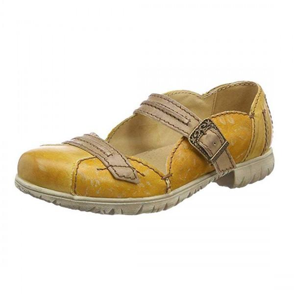 Rovers Damen Schuhe Slipper Ballerina Used Optik Leder Gelb