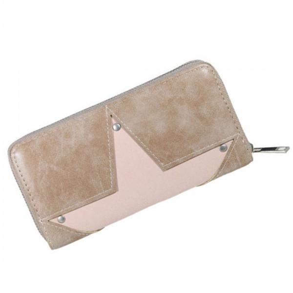 Damen Geldbörse Portmonee Brieftasche Stern Braun