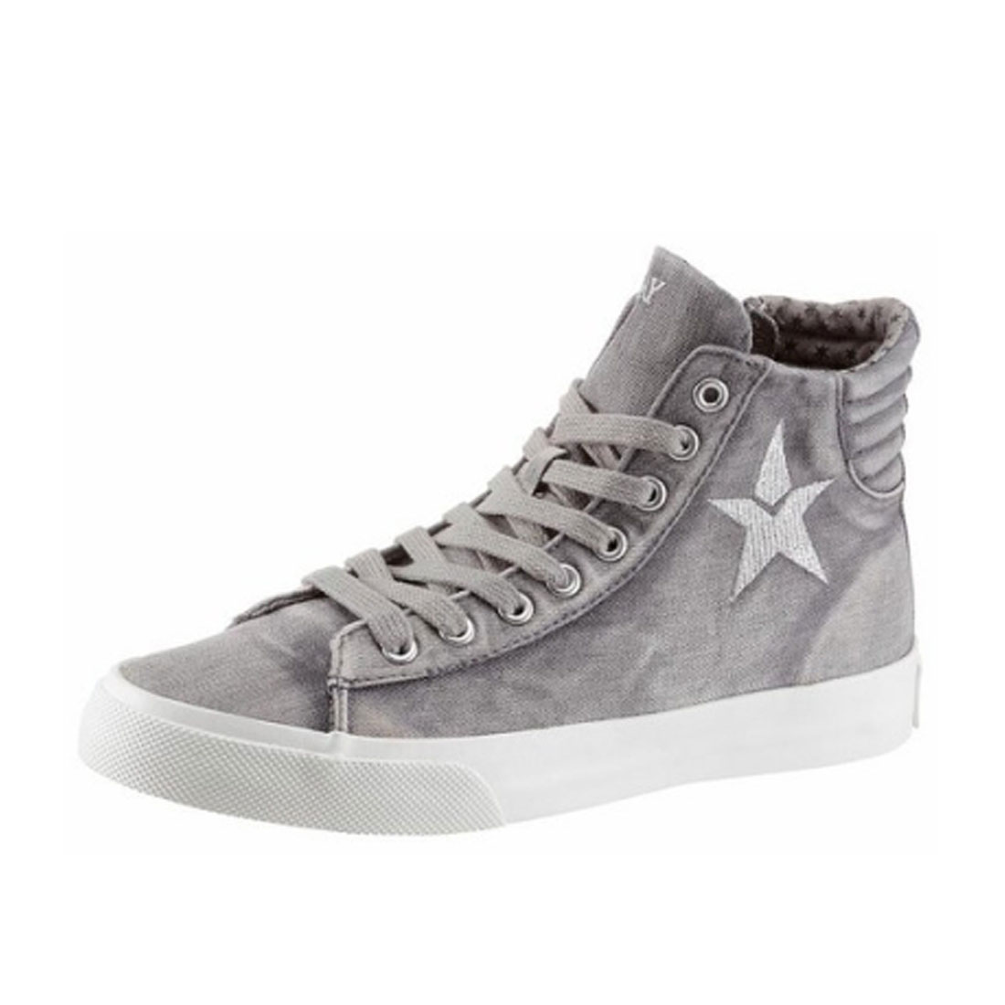 Replay Damen Sneaker EDNA HI Top Schuhe Jeans Grau