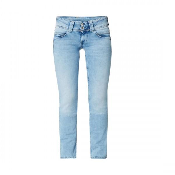 Pepe Jeans Damen Jeans Venus Jeanshose Blau Low Waist Hose Hellblau