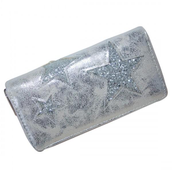 Damen Geldbörse Portmonee Brieftasche glitzer Stern Silber Metallic