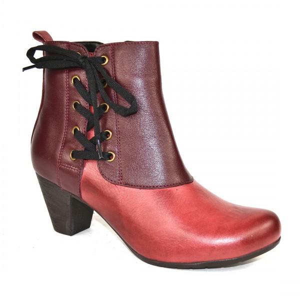 GEMINI Damen Leder Stiefeletten Ankle Boot Lederschuhe Stiefel Bordeaux Weinrot