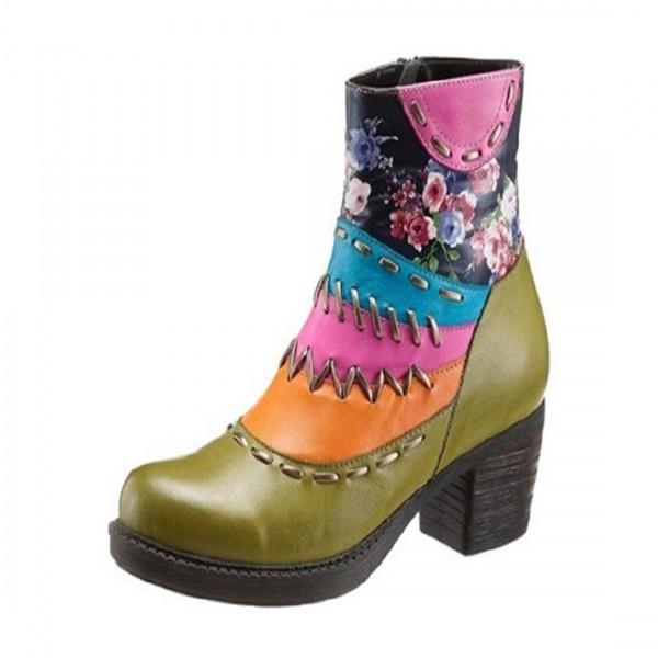 GEMINI Damen Leder Stiefeletten Ankle Boot Lederschuhe Stiefel Grün Olive Mulitcolor