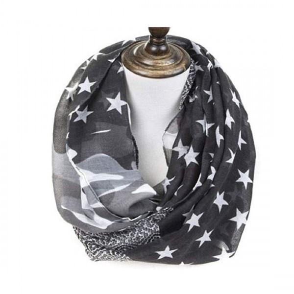 Damen Schal Camouflage Halstuch Tuch Rundschal Sterne Stars Tarn