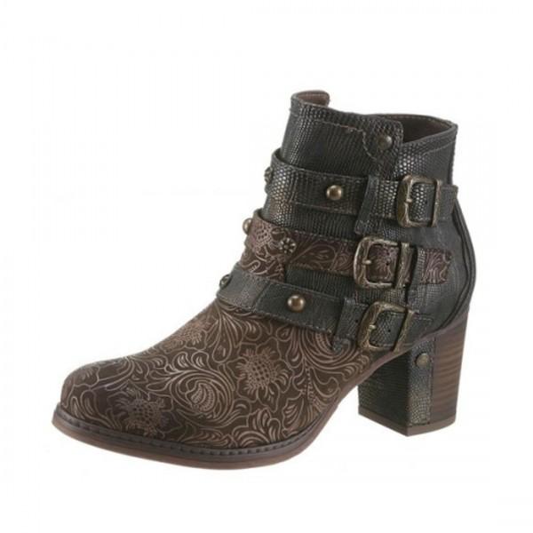 Mustang Damen Ankle Boots Stiefeletten True Denim Olive Used
