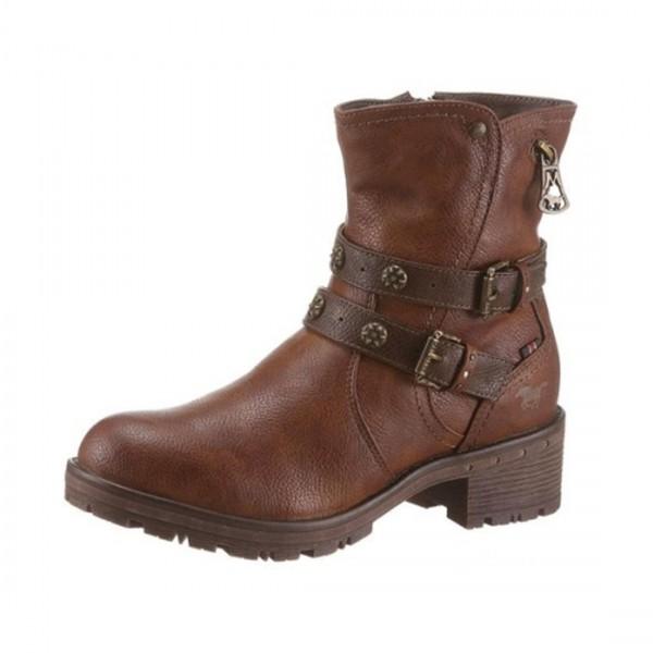 Mustang Damen Stiefel Stiefeletten Boots gefütterte Kurzstiefel True Denim Kastanie Braun