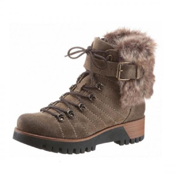 Manas Damen Schuhe Stiefelette Stiefel Winter Boots Fake Fur khaki