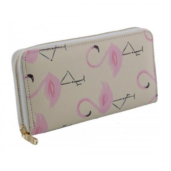 Damen Geldbörse Portmonee Brieftasche Flamingo Rosa