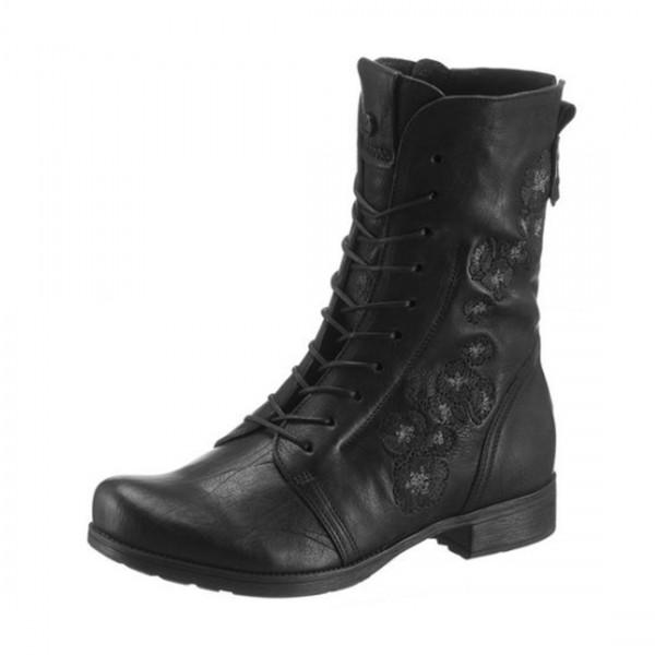 Think! Damen Leder Schuhe Stiefeletten Schnürstiefel Stiefel Schwarz