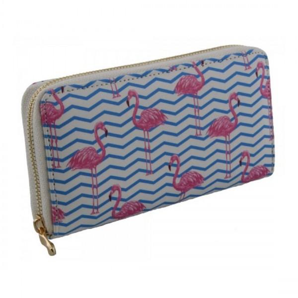 Damen Geldbörse Portmonee Brieftasche Flamingo Weiß Blau