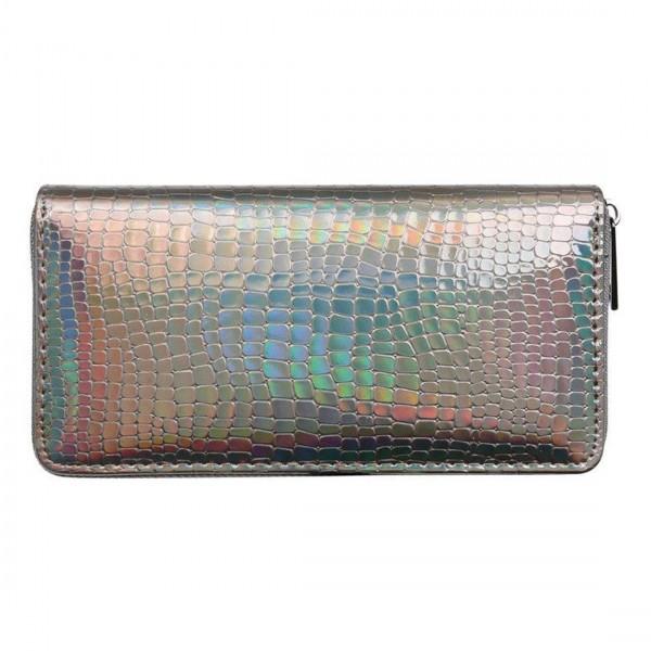 Damen Geldbörse Portmonee Brieftasche Geldbeutel Glitzer Braun Rose Metallic