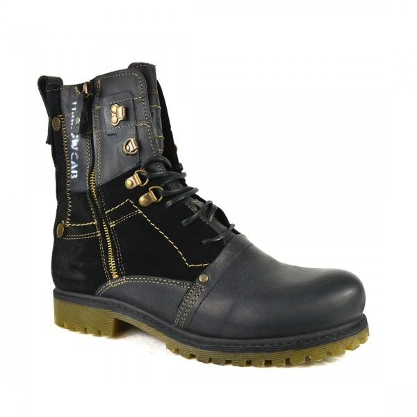 Yellow Cab Herren ATLAS M B18037 BLACK Leder Biker Schuhe Boots Stiefel