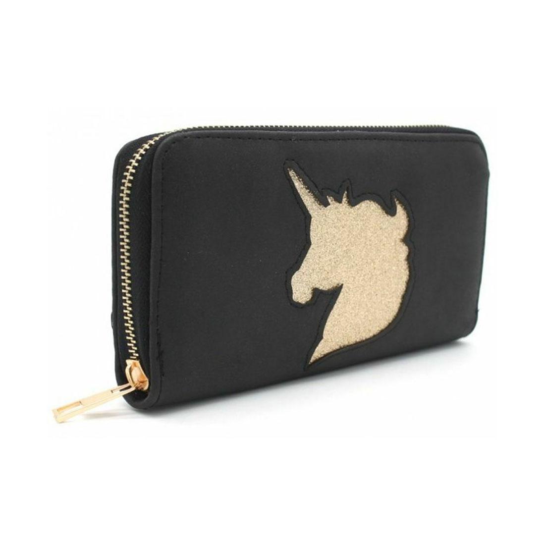 WOW Damen Geldbörse Portmonee Brieftasche Einhorn Unicorn Schwarz 18.1123//LH