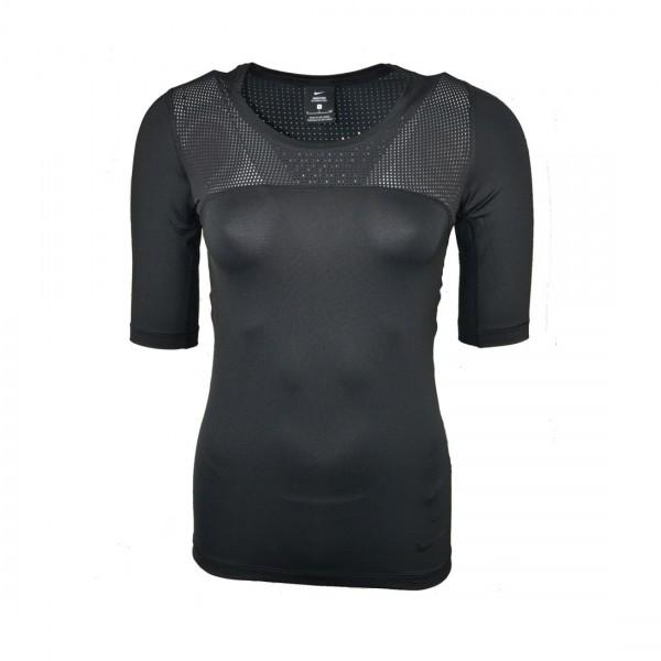 Nike Damen Pro Hypercool T-Shirt Funktionsshirt Laufshirt Sportshirt schwarz