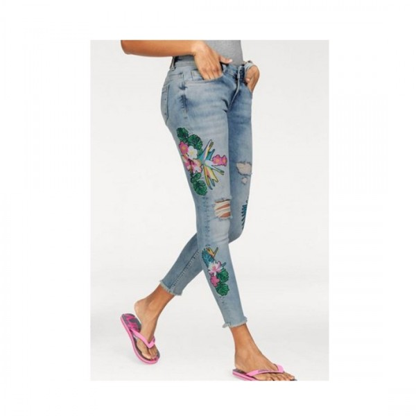 Superdry Damen Jeans Hose Skinny Cassie Blue Stretch Destroy Blumen Flower Blau