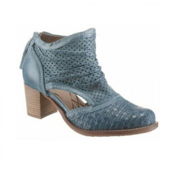 Dkode Damen Leder Stiefel Schuhe Stiefelette blau