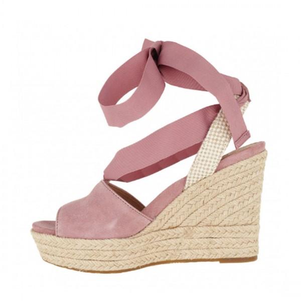 UGG® Damen SHILOH Peeptoe Sandalen Keil Schuh Sandaletten Pink Down