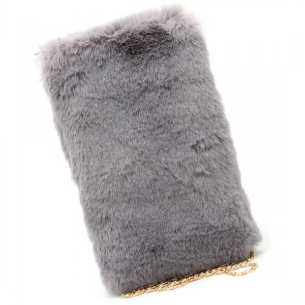 MiHella Damen Tasche Clutch Bag Umhängetasche Plüschtasche Grau