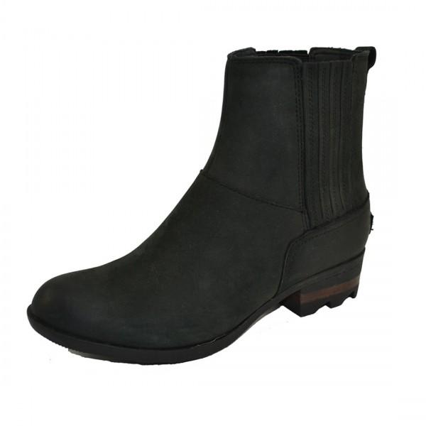 Sorel Lolla Chelsea Boots Bootie Stiefel Damen Stiefeletten Leder Schuhe Schwarz
