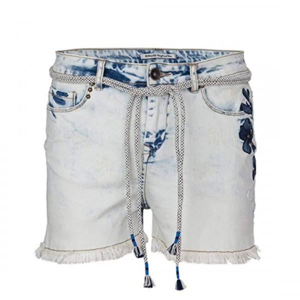Khujo Damen KALLANA Denim Jeans Shorts Gürtel Hose Blue Jeans Blume Flower