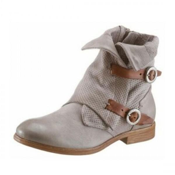 Arizona Damen Leder Combat Stiefel Biker Boots Schuhe Stiefeletten grau