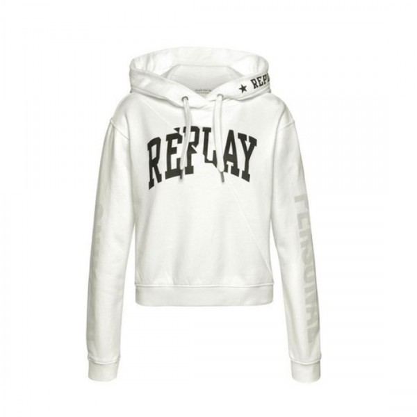 Replay Damen Sweatshirt Kapuzenpullover Sweater Weiß
