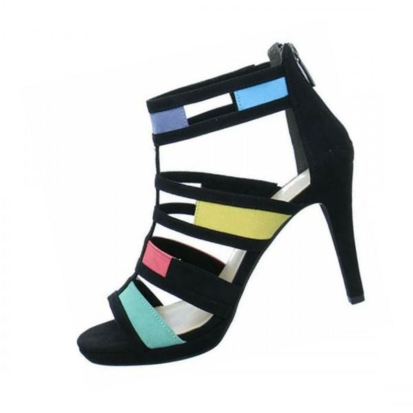 Tamaris Damen Schuhe Sandale High Sandalette schwarz