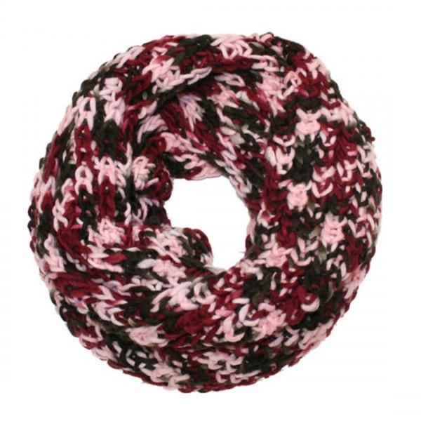 Damen Schal Tuch Schal Loop Strick Rot Rosa
