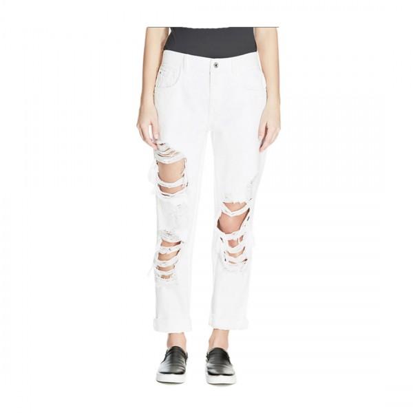 Guess Damen Jeans Hose Boy Fit weiß destroyed
