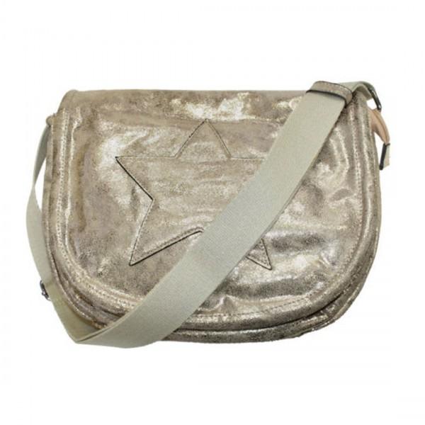 Damen Tasche Handtasche Glitzer Stern Kunstleder Braun metallic