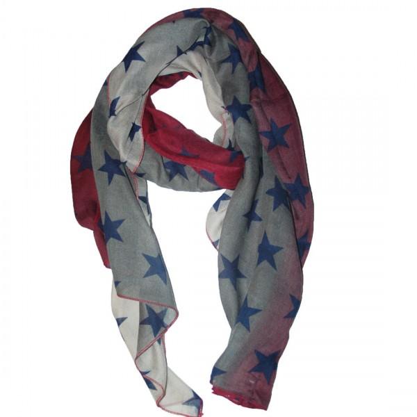 Damen Schal Modischer Tuch Stern Rot Grau Motive