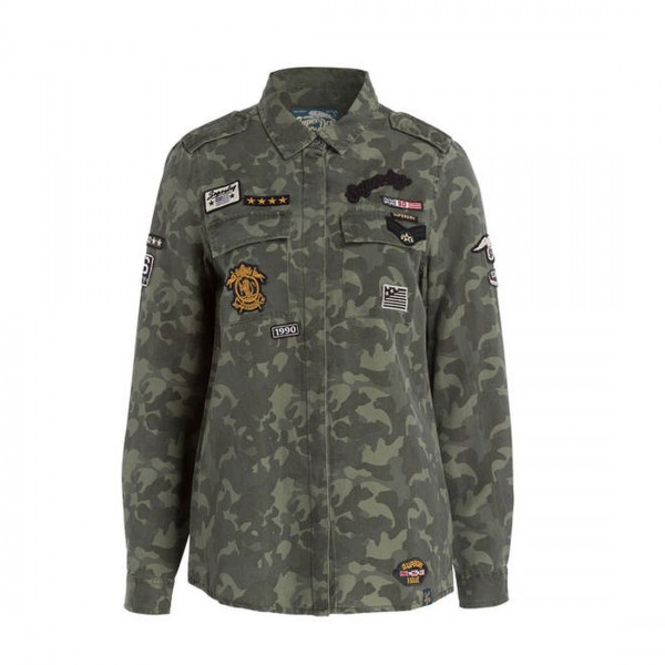 Superdry Hemdbluse Amber Military Camou mit Patches Tiger