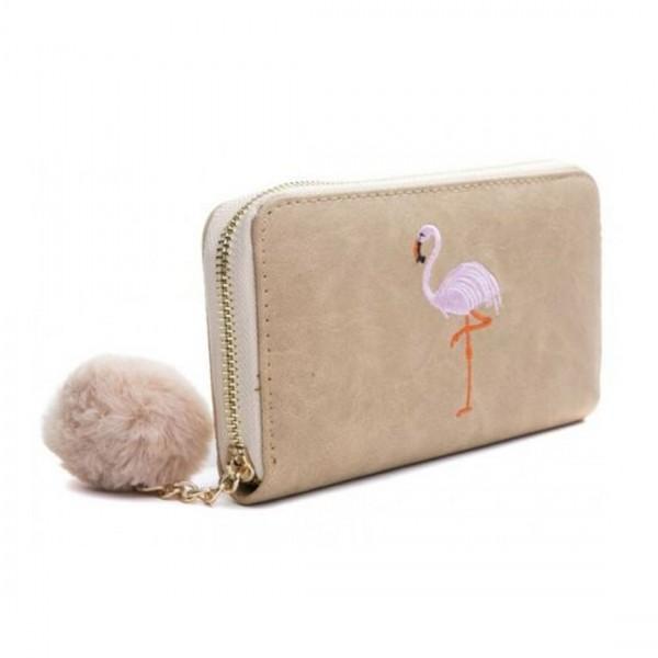 Damen Geldbörse Portmonee Brieftasche braun Flamingo Pink