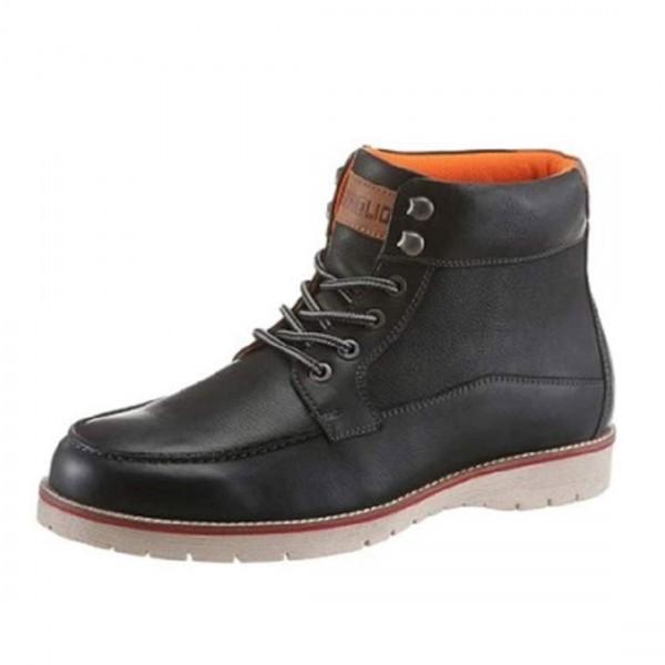 Petrolio Herren Boots Schnürschuhe Leder Schuhe Schnürboots schwarz