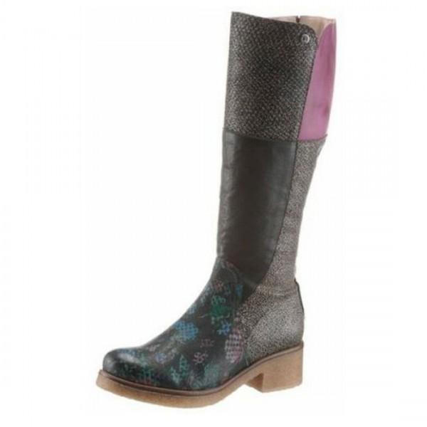 Dkode Damen Stiefel Stiefelette Schuh Boots Schuhe Mehrfarbig Schwarz Leder