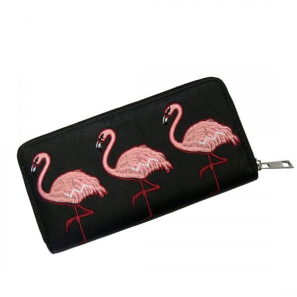 Damen Geldbörse Portmonee Brieftasche Flamingos Schwarz