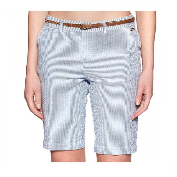 Superdry Damen Chino City Shorts inkl. Gürtel Hose Bermuda Blau Stripe Hellblau