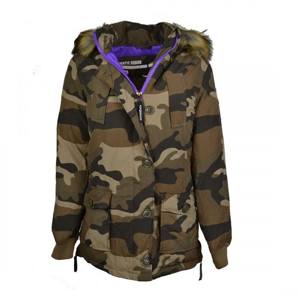 Kangaroos Parka Jacke Jacket Mantel Damen Camouflage Kapuzenmantel Fake Fur