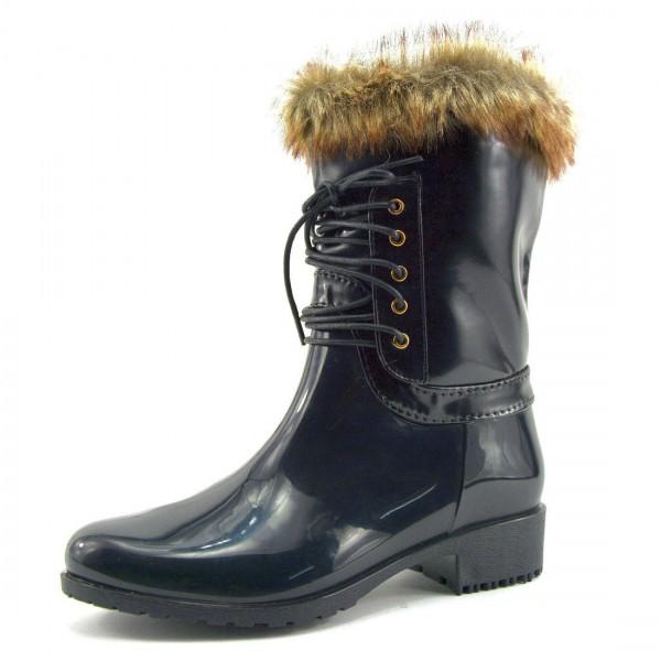 Wilady Damen Schuhe Stiefel Boots Gummistiefel Schwarz